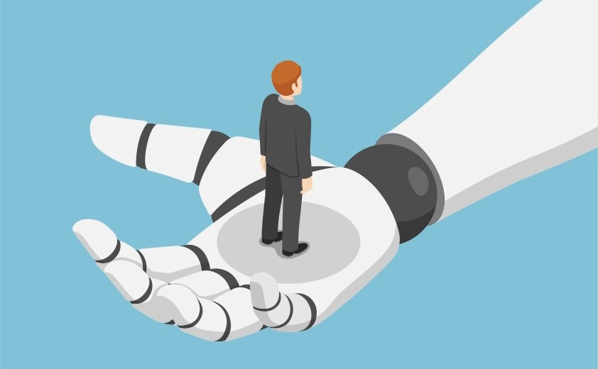 A robot hand holding a man in a suit