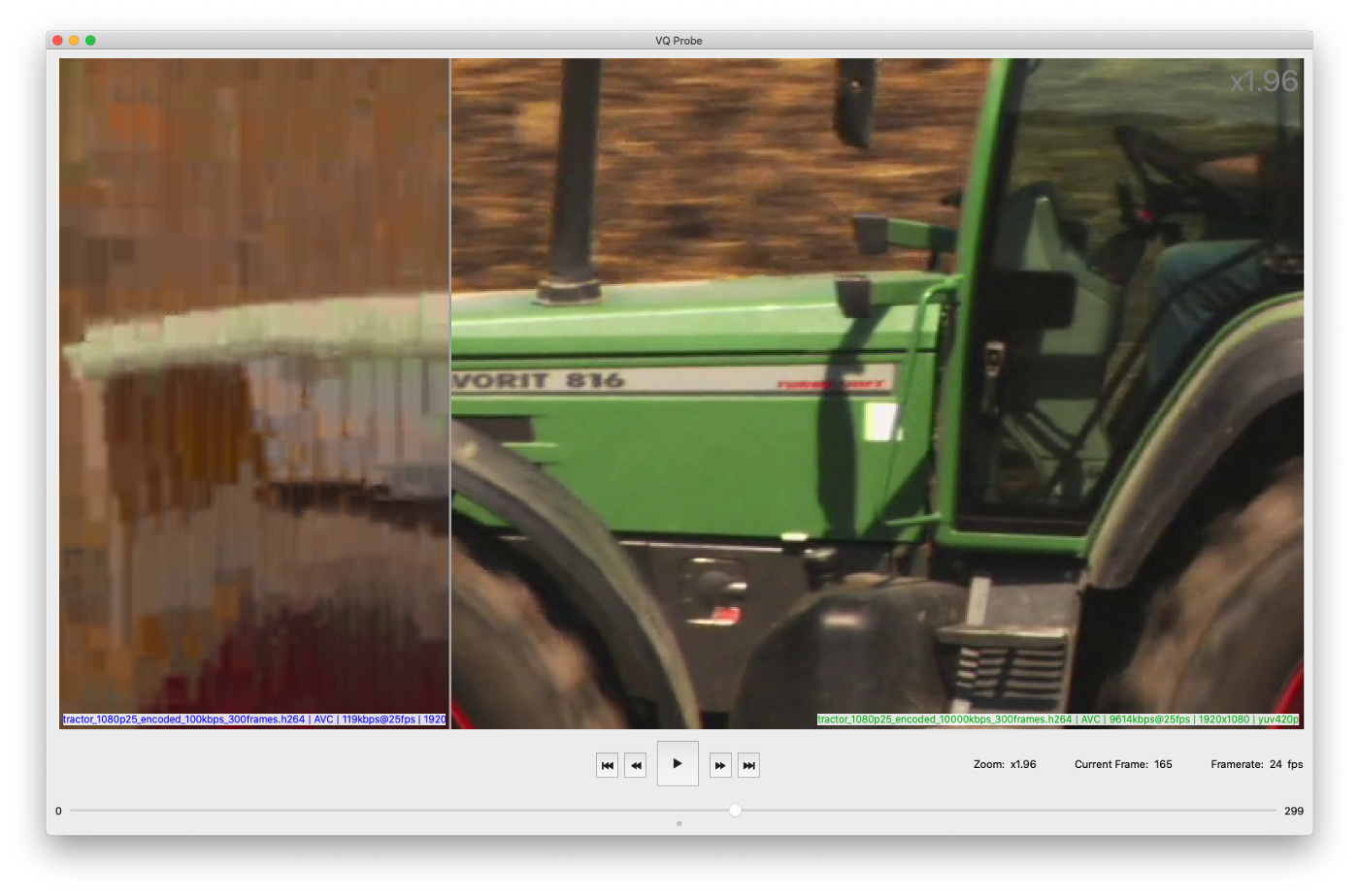 Green tractor cabin encoded with very bad and normal qualities