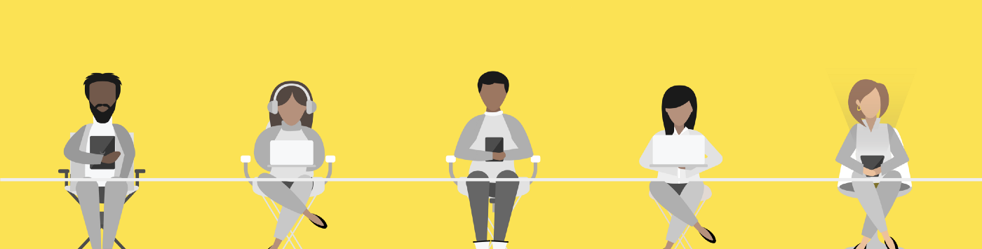 Illustration of people on devices