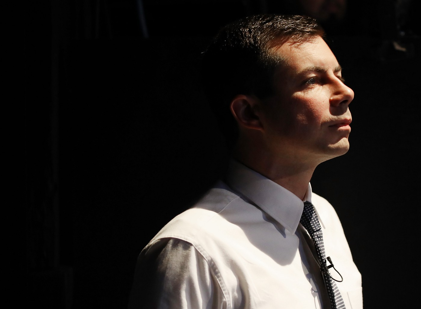 Democratic presidential candidate Pete Buttigieg waits to speak on Latino issues at Cal State LA on November 17, 2019.