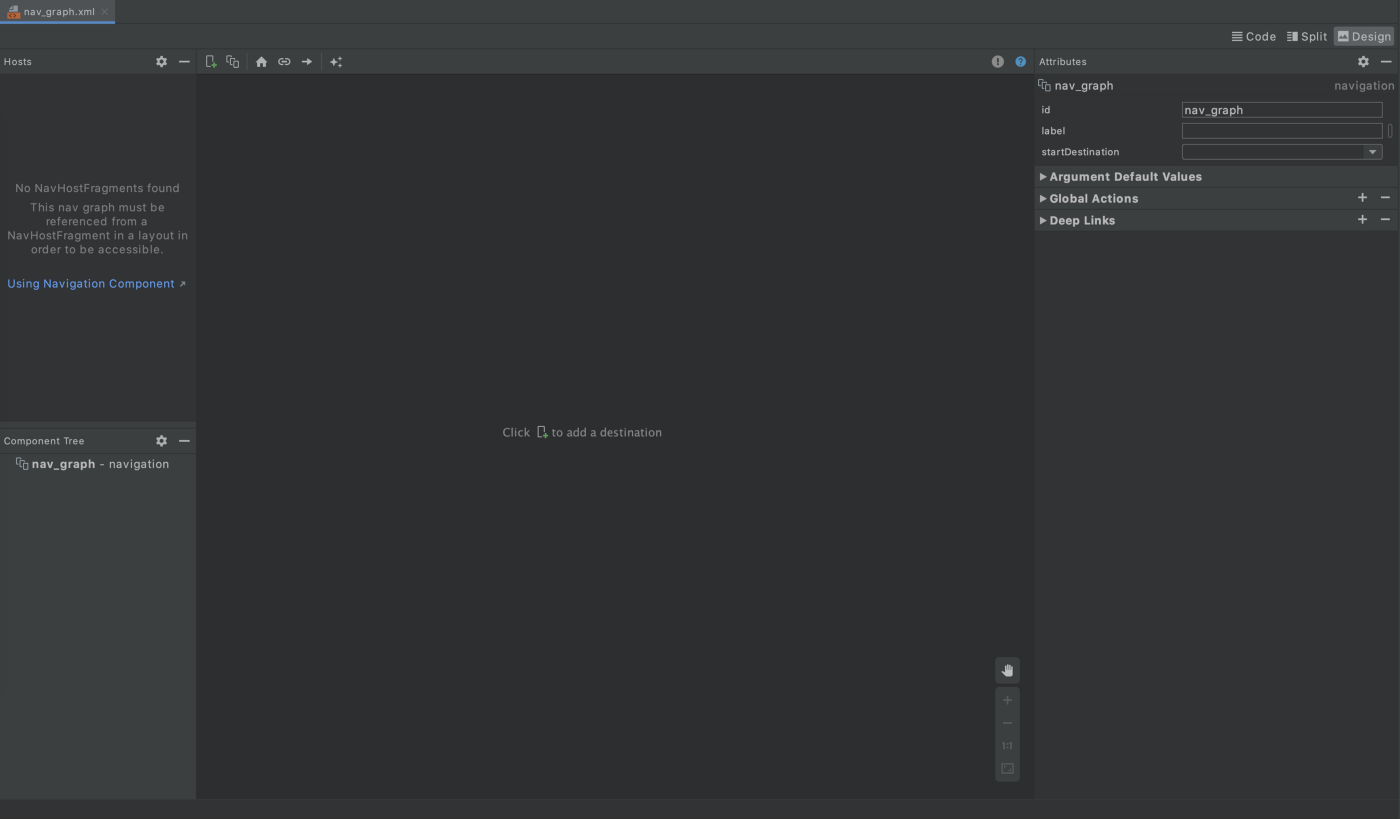 Android Studio showing empty navigation graph xml file—design layout