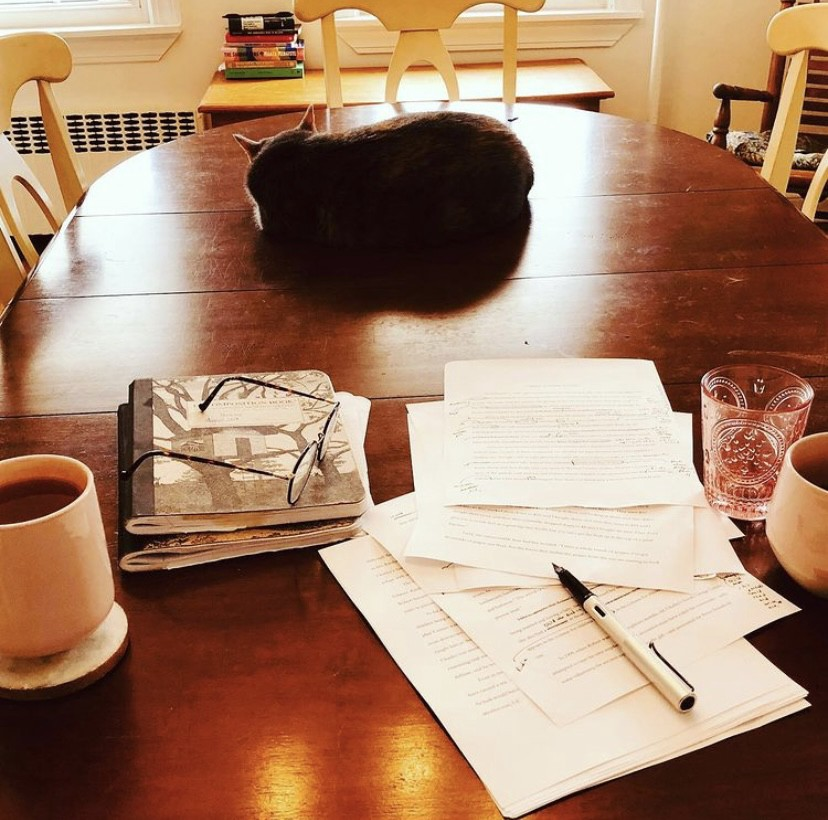 A dining room table. In the foreground, two composition notebooks and several typewritten pages with notes scribbled across them, alongside a nearly empty glass of water and two mugs filled with hot beverages. Further back on the table, a cat. Beyond that, a trunk with some books on it. In the corner, a rocking chair.