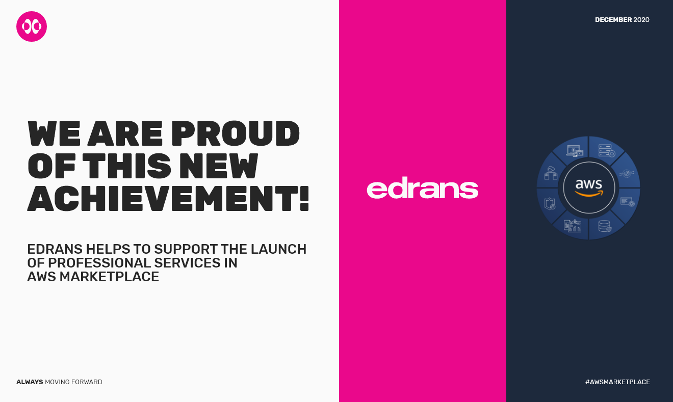 Banner announcing that EDRANS helps to suppor the launch of professional services in AWS marketplace