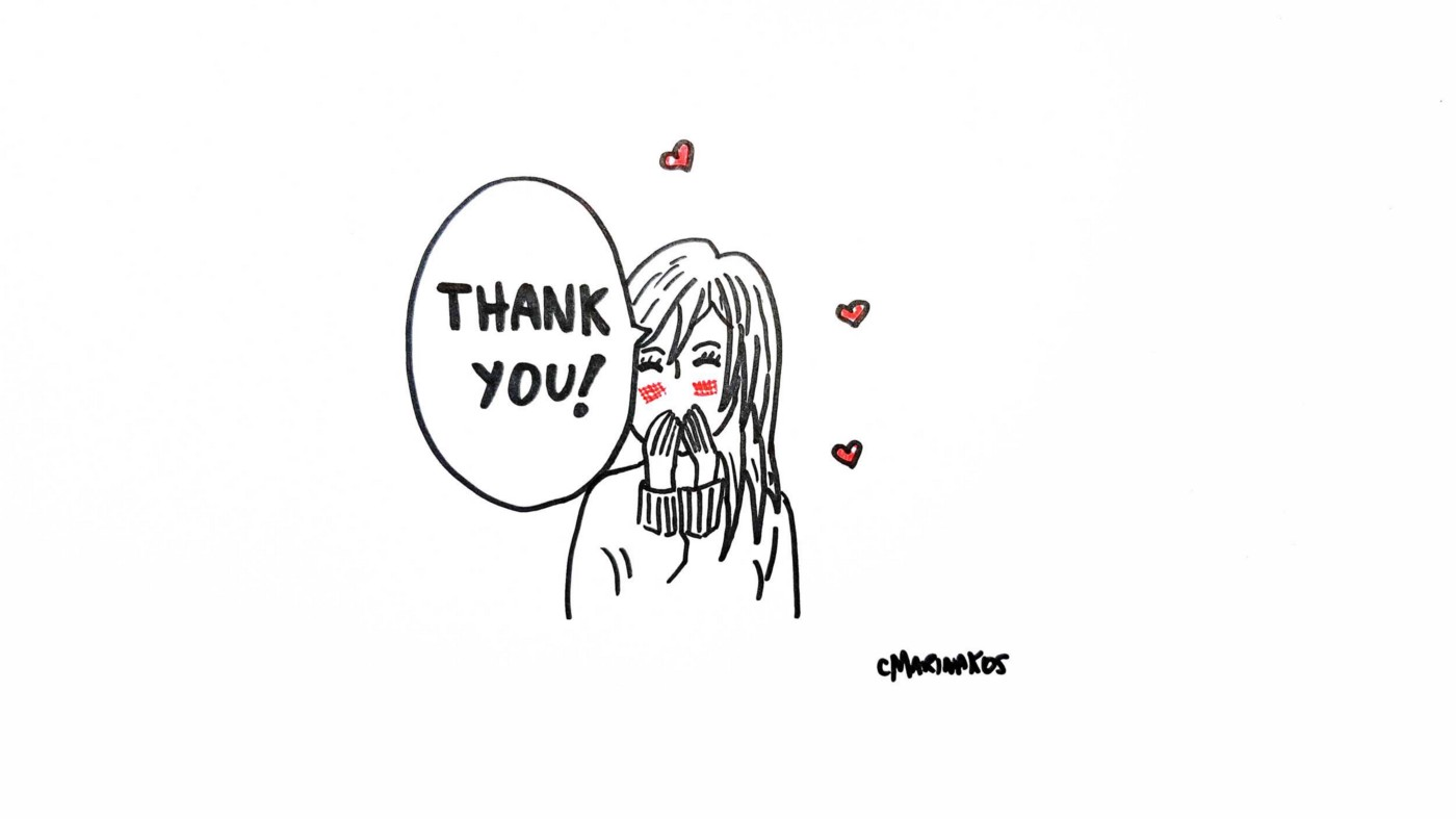 """An illustration of a girl with her hands to her mouth and a speech bubble with text """"Thank you"""". 3 love hearts surround her."""