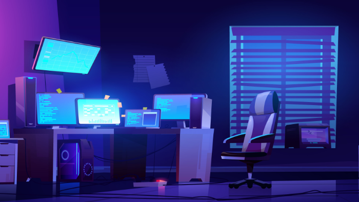 A typical programmer desktop by night