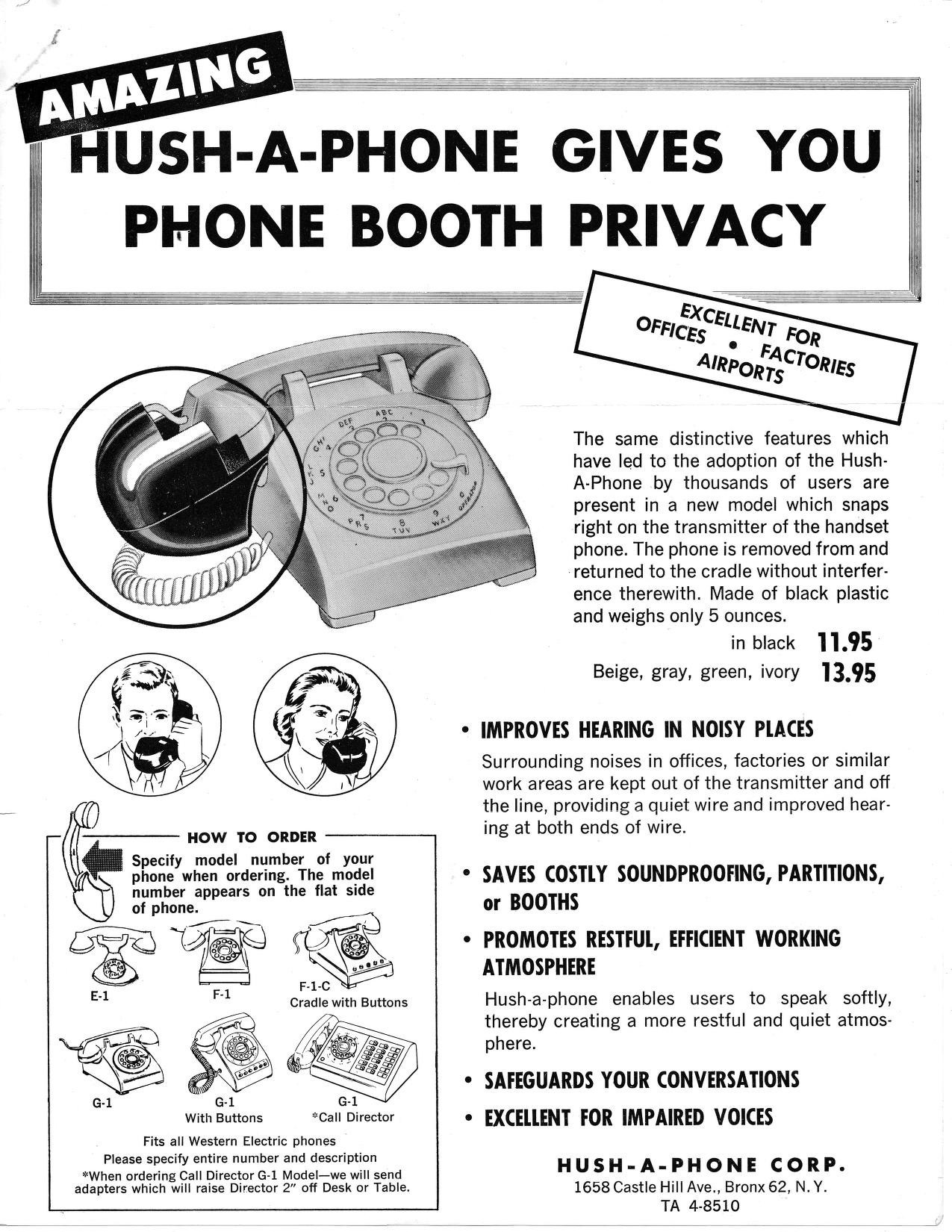 Midcenutry advertisement for the Hush-A-Phone.