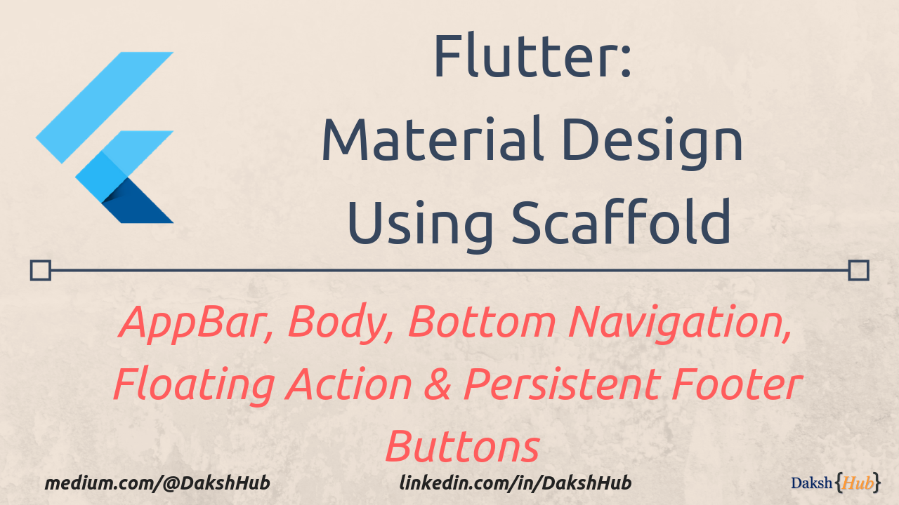 Flutter: Material Design Using Scaffold (AppBar, Body, Bottom