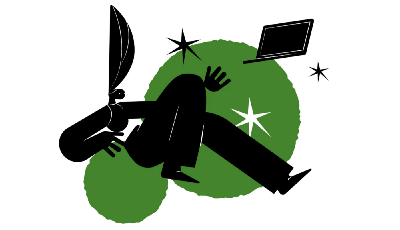 illustration of human figure floating with geometric shapes and a laptop drifting away from them.
