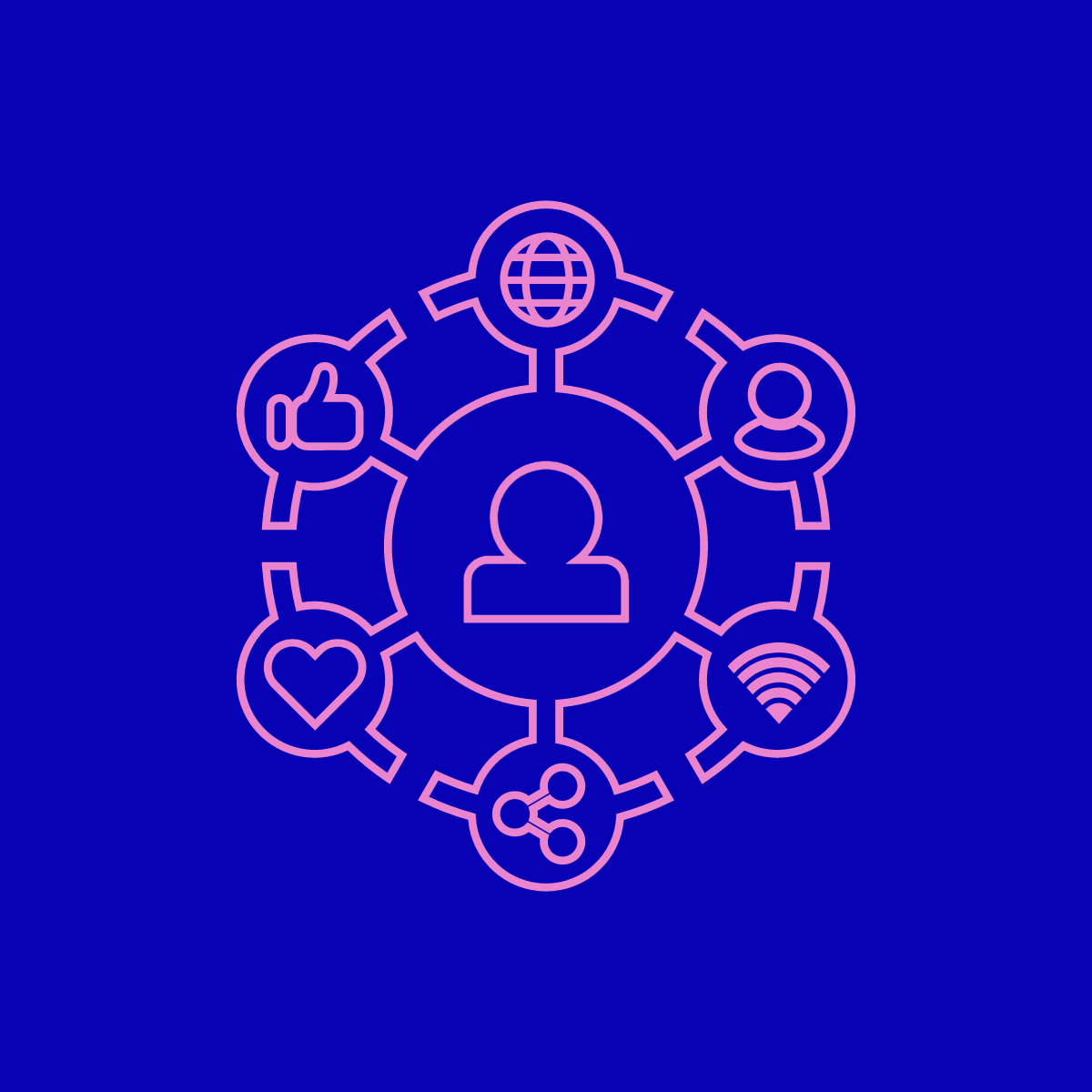 A pink graphic against a blue background showing a person connected to a globe, a heart, a wifi symbol