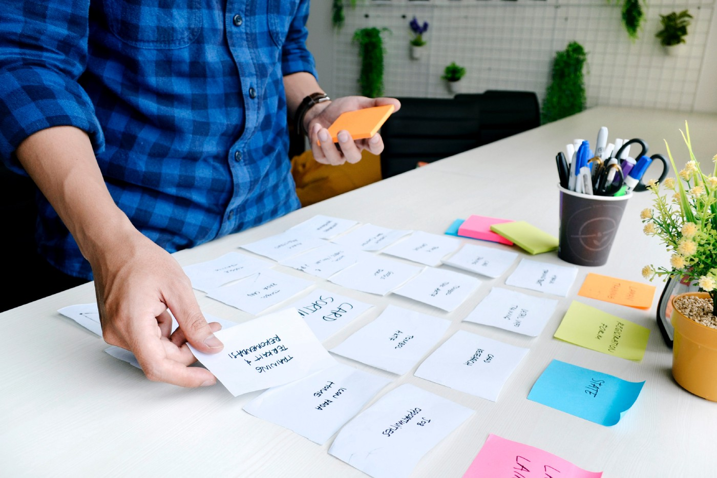 designer laying out cards