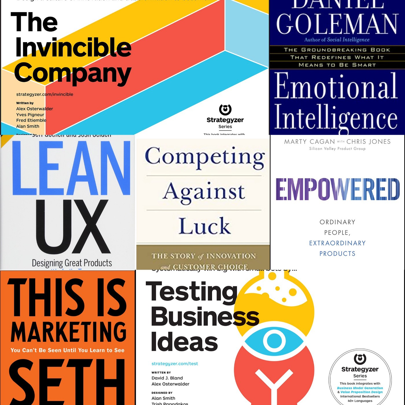 Mosaic of 7 Books Product Owners should read