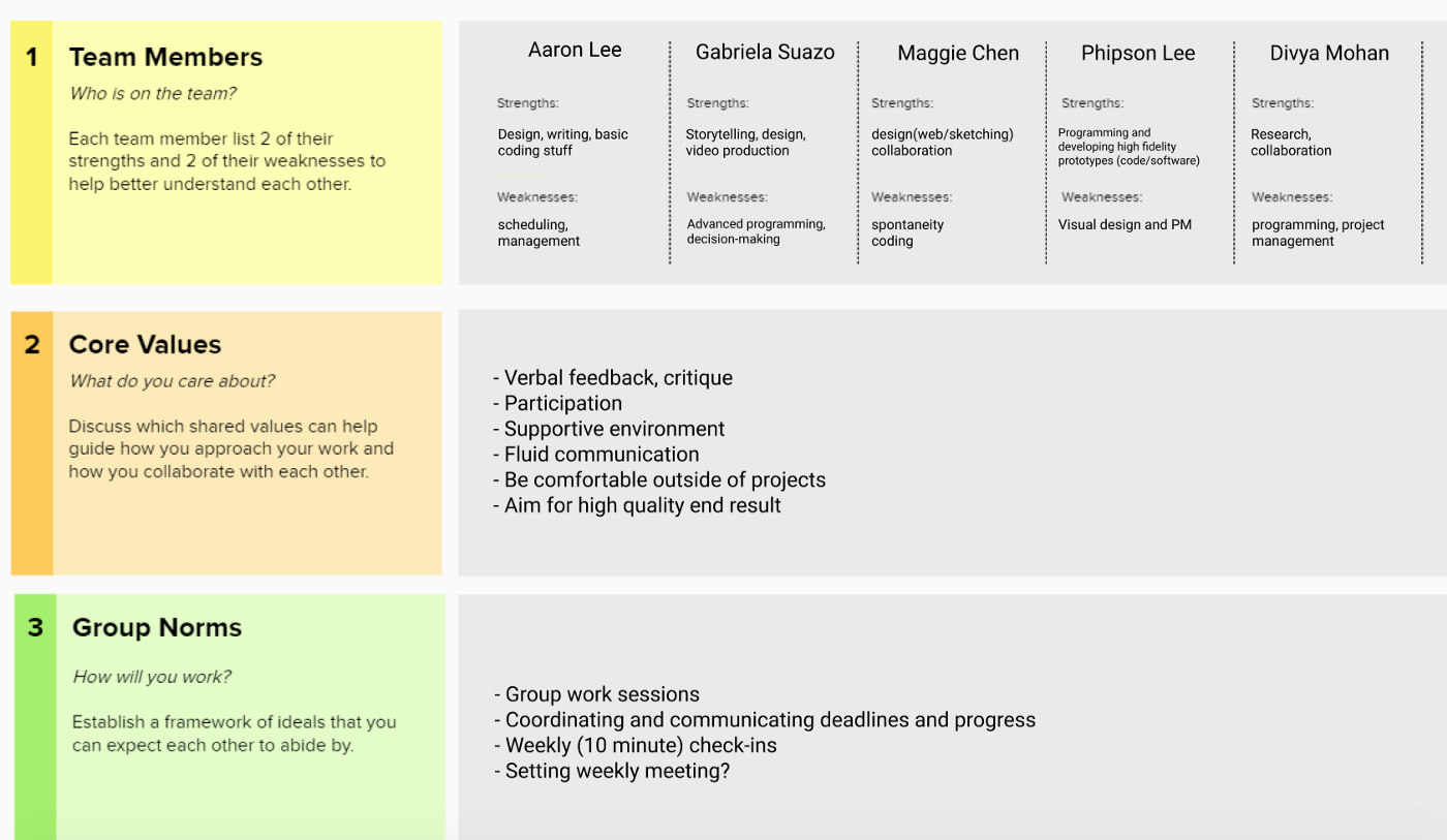A chart with sections for team members to identify strengths and weaknesses, core values, and group norms.