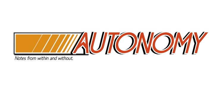 """Autozone logo edited to read """"Autonomy"""" with a subline """"Notes from within and without."""""""