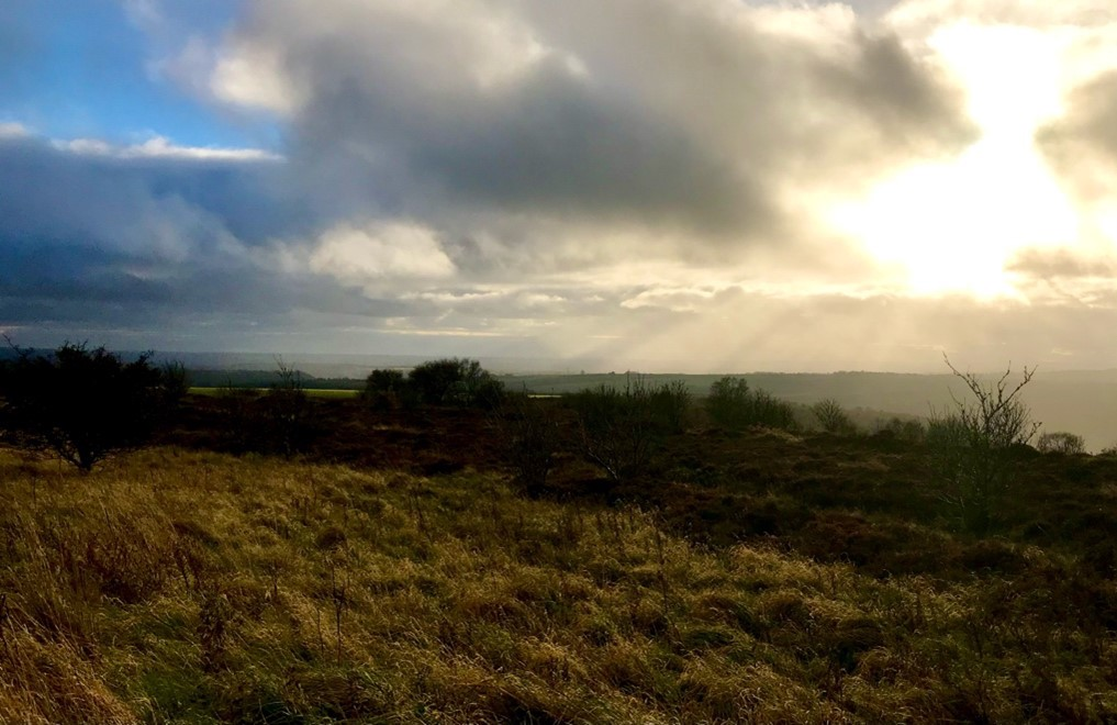 Sun shining over North York Moors National Park