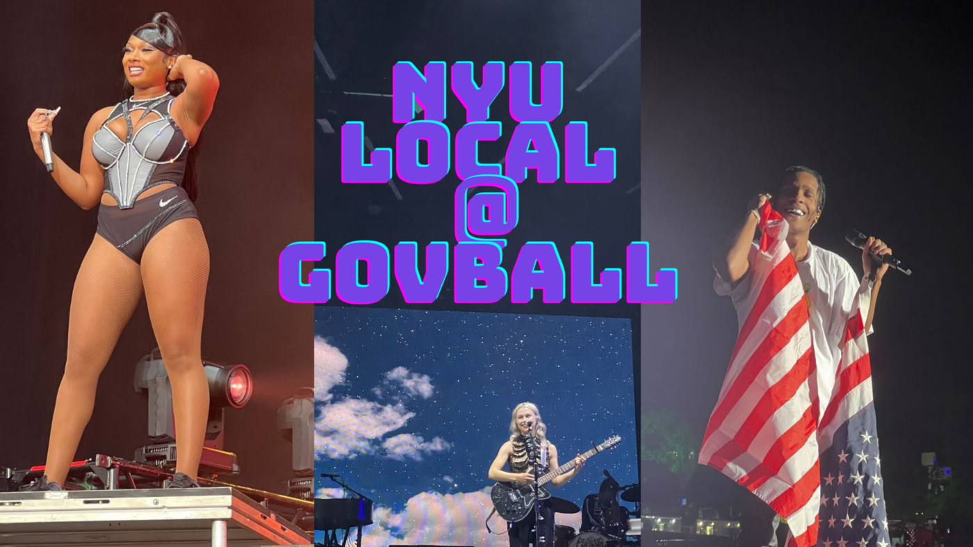 """Collage of Megan Thee Stallion, Phoebe Bridgers and ASAP Rocky with text saying """"NYU Local at Govball"""""""