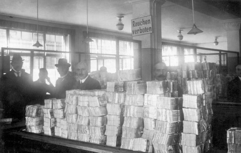 Bundles of notes waiting to be distributed by the Reichsbank during the hyperinflation period of Weimar Germany