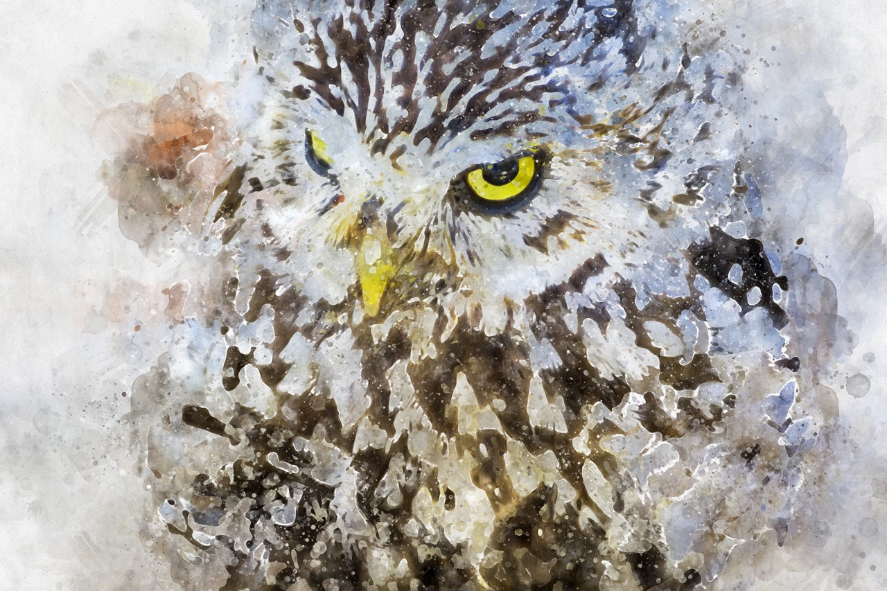 An impressionist watercolor of an owl with yellow eyes