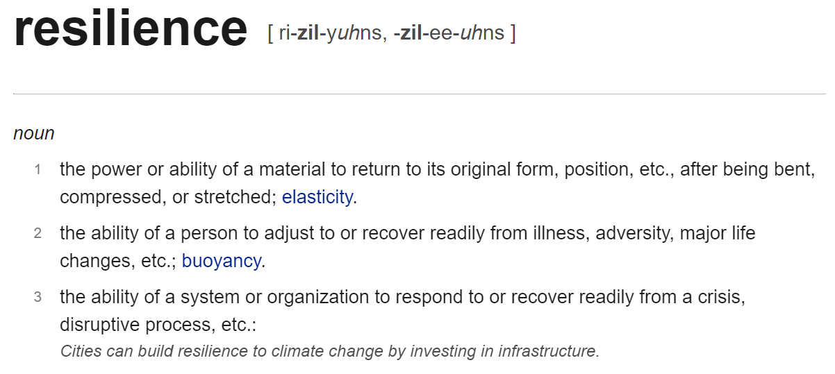 The dictionary definition of resilience