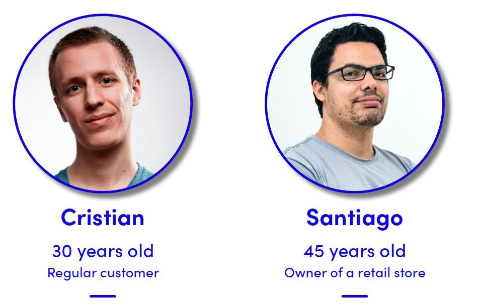 Two User Personas: A regular customer and a retail owner