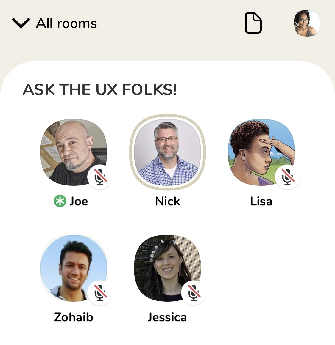 """Screenshot of the Clubhouse app """"Ask the UX folks"""" room, showing the Avatars of each of the speakers."""