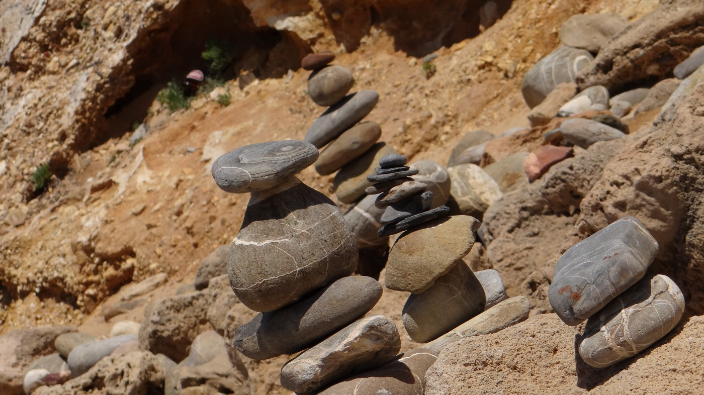 Stone stacks on shores of Portugal
