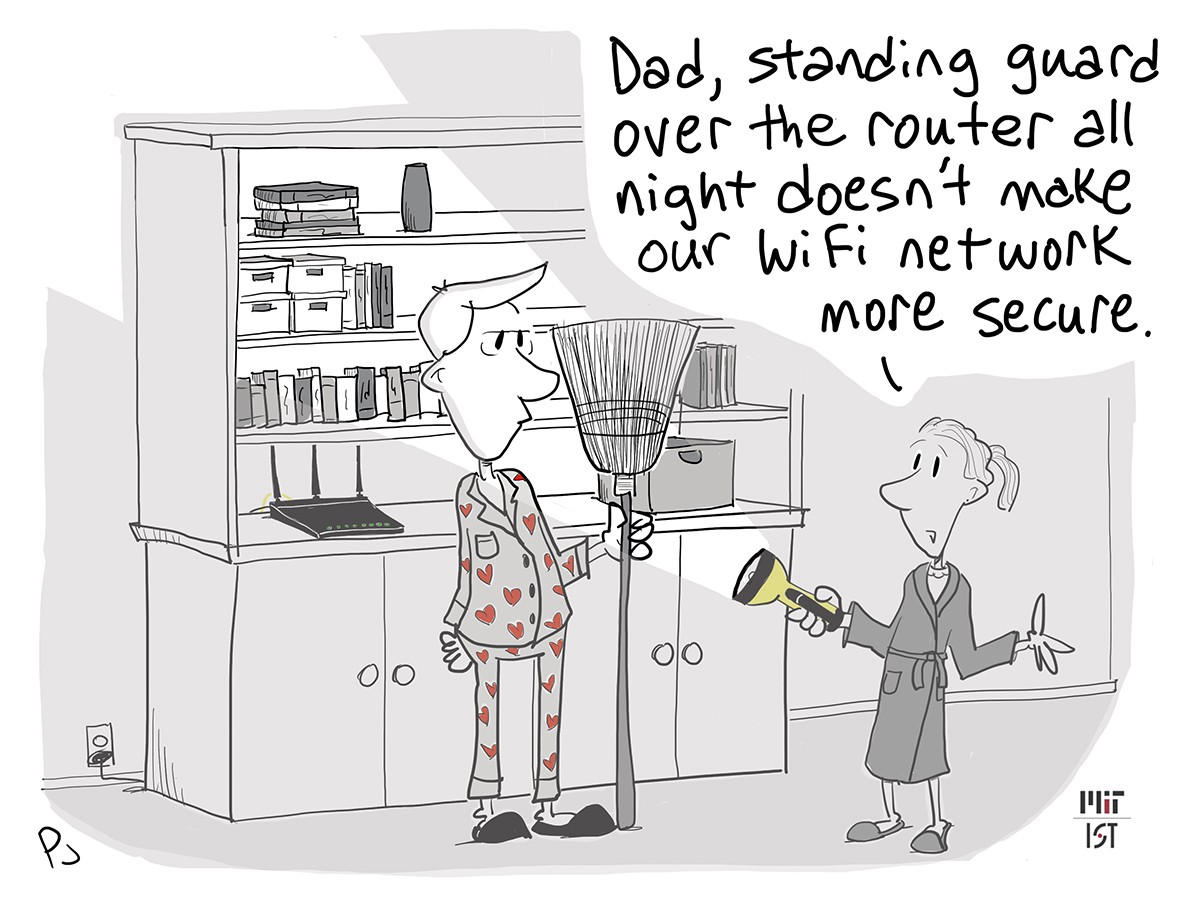 Cartoon of a man standing guard over his home router at night in his pajamas holding a broom.