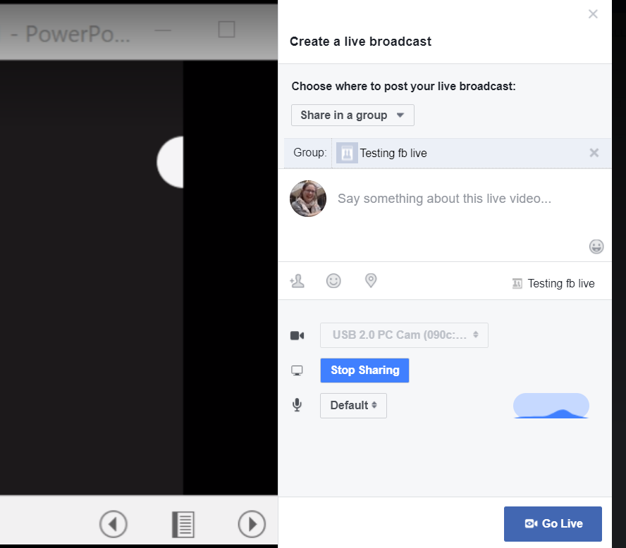 Natively share a PowerPoint on Facebook Live and view comments on a