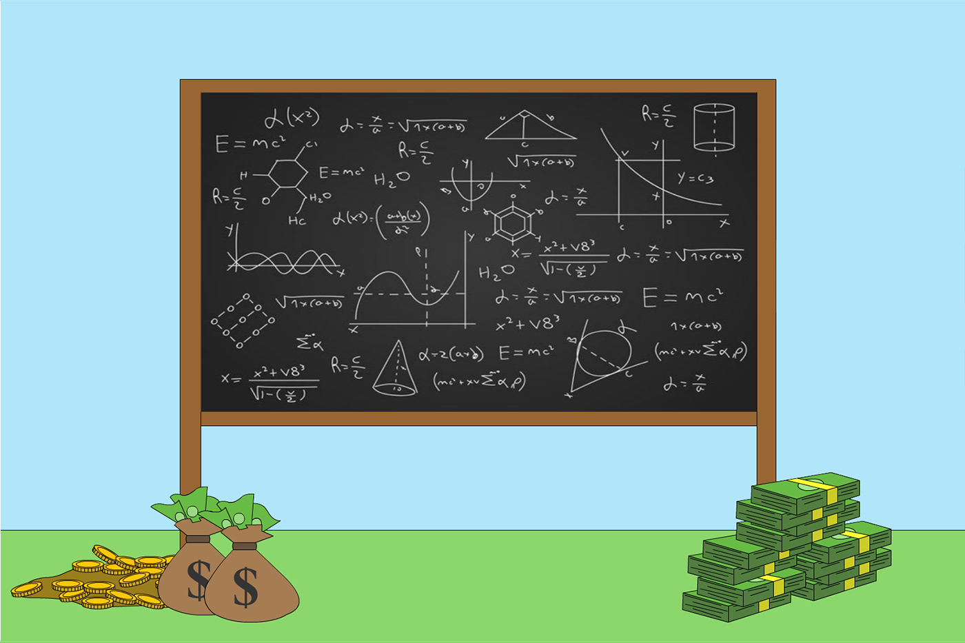 Original animation still of a black chalkboard filled with equations, sitting on a green field of grass, with bags of gold coins and stacks of cash on each side.
