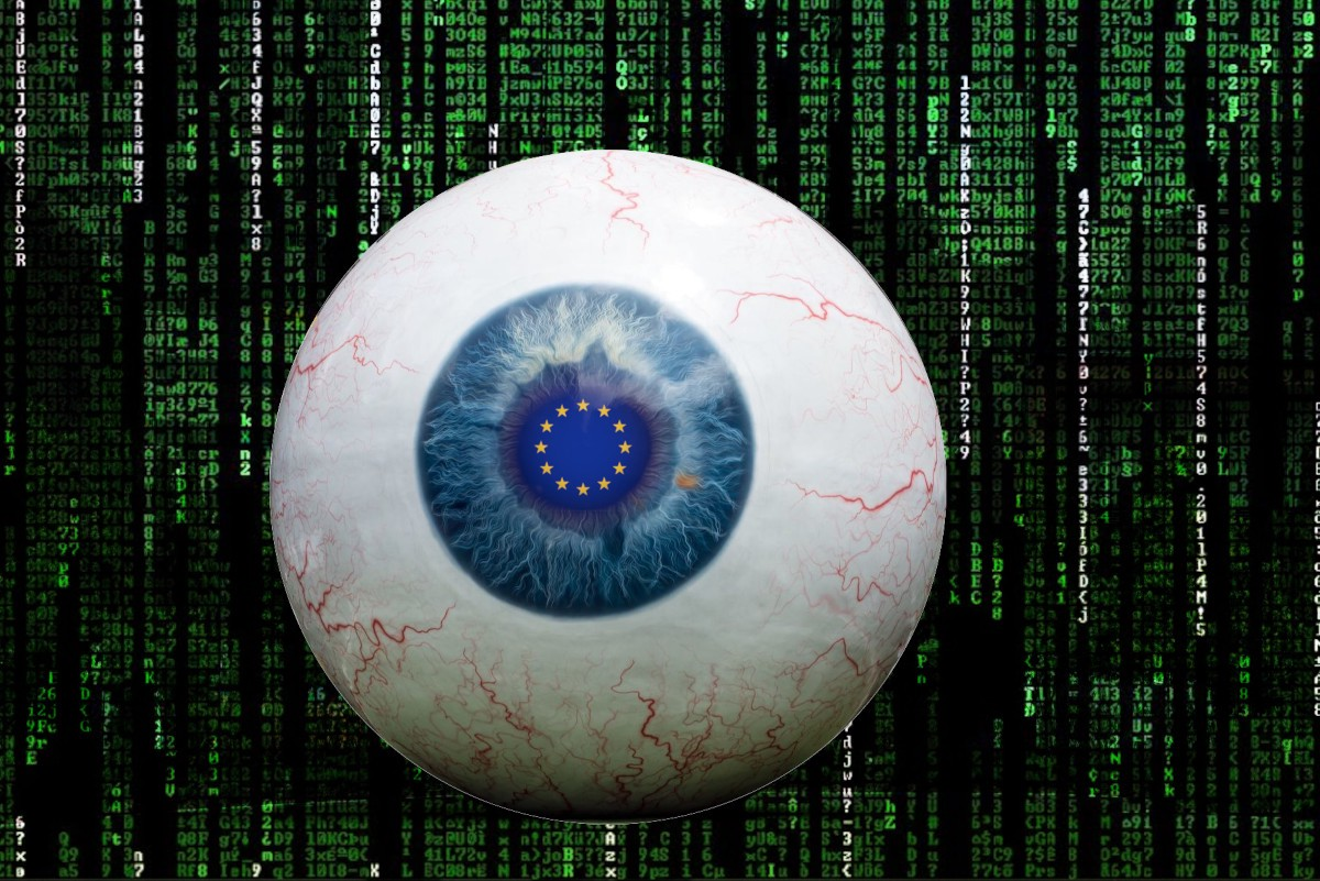 A giant eyeball whose pupil has been replaced by the EU circle-of-stars flag; it floats in a void of 'Matrix waterfall' blackness and green and white letters, numbers and symbols. Image: Carol M Highsmith/Library of Congress (modified) https://www.loc.gov/item/2014632601/