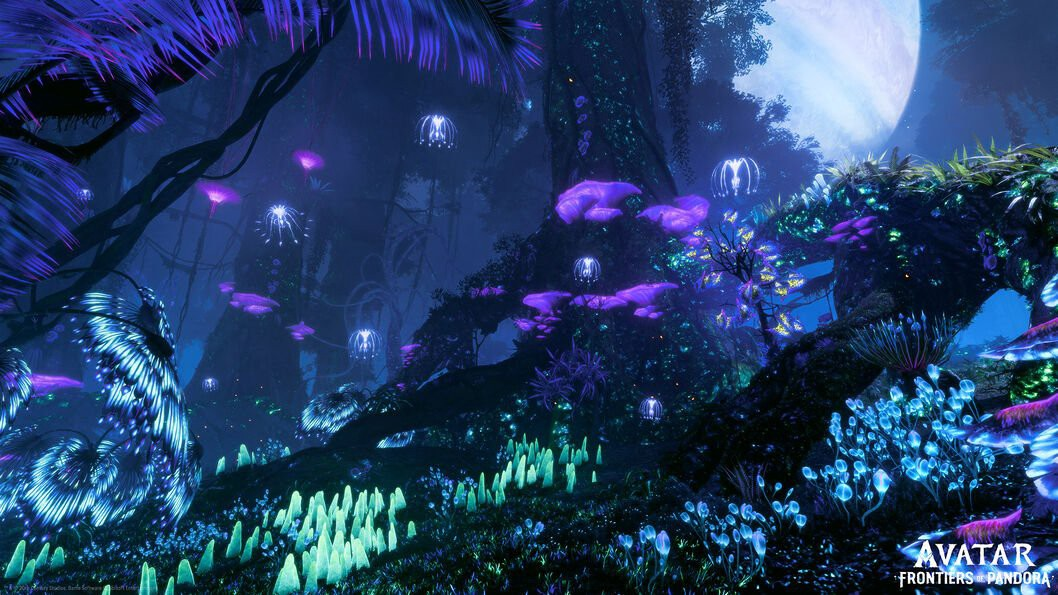 A screenshot from Ubisoft's reveal trailer for their upcoming game Avatar: Frontiers of Pandora.