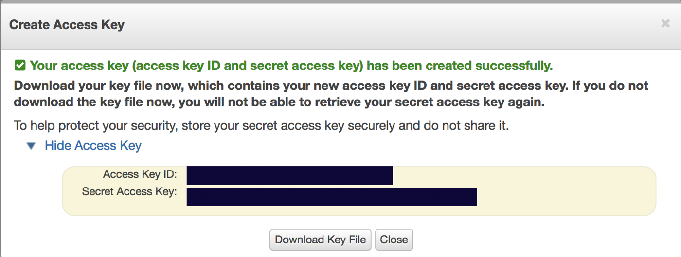 How to create an S3 Bucket and AWS Access Key ID and Secret Access