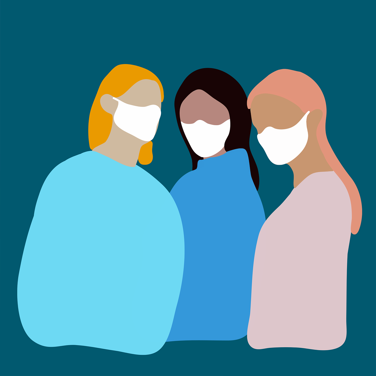 Three women wearing masks stand in a group.