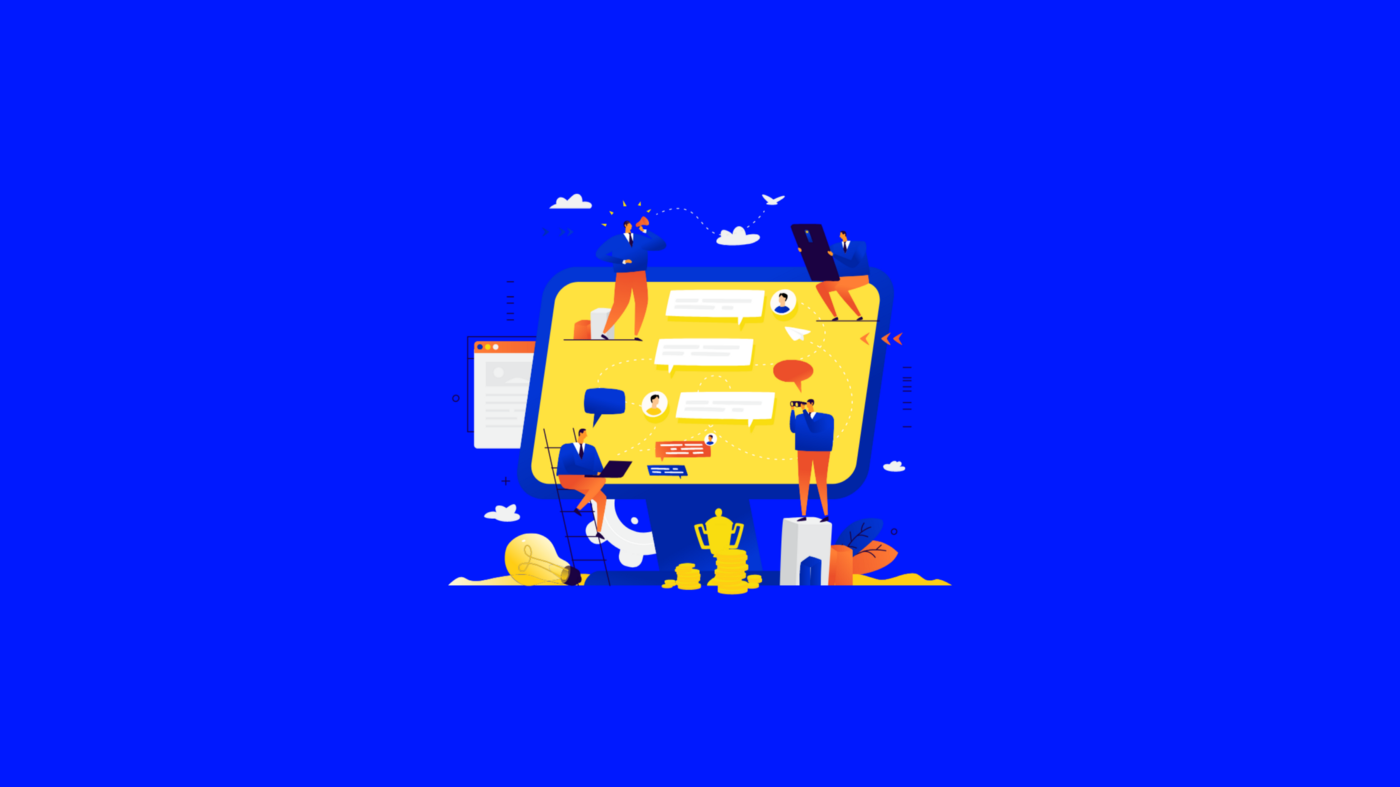 A graphic depicting a bunch of people working on a copmputer screen. Meant to represent the digital new normal of work.
