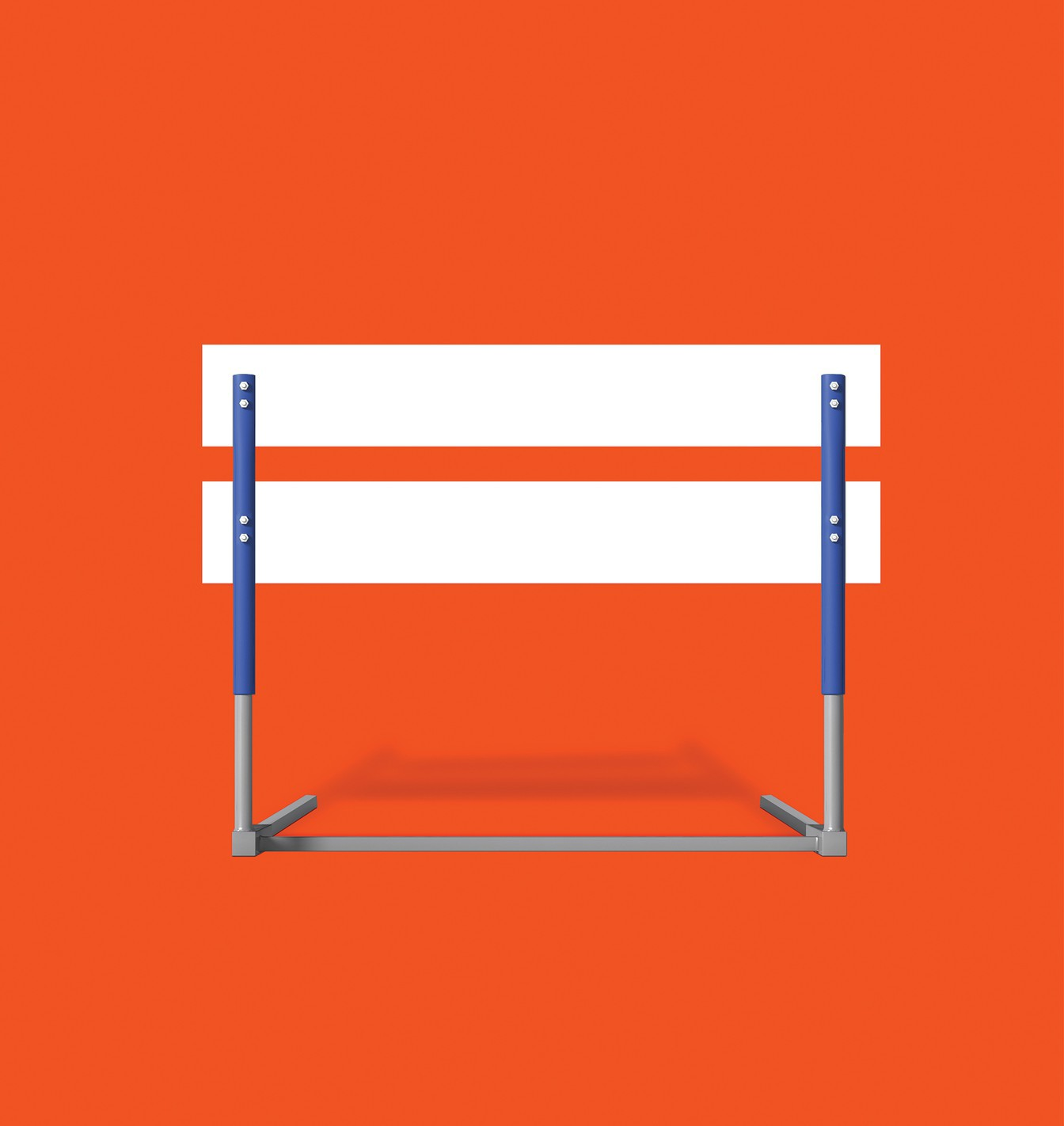 A white-and-blue hurdle casting a shadow on a flat orange background.