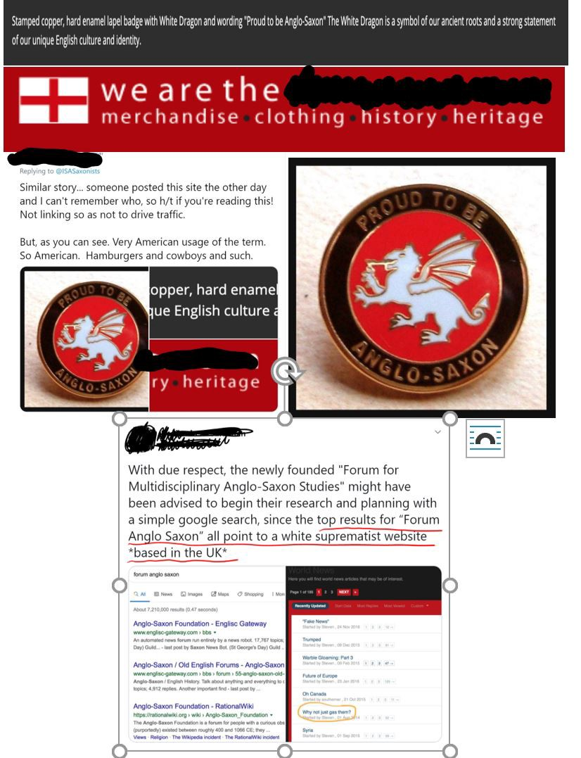 """Screenshots of English nationalist paraphernalia & a white supremacist website. One button says """"Proud to be Anglo-Saxon."""""""
