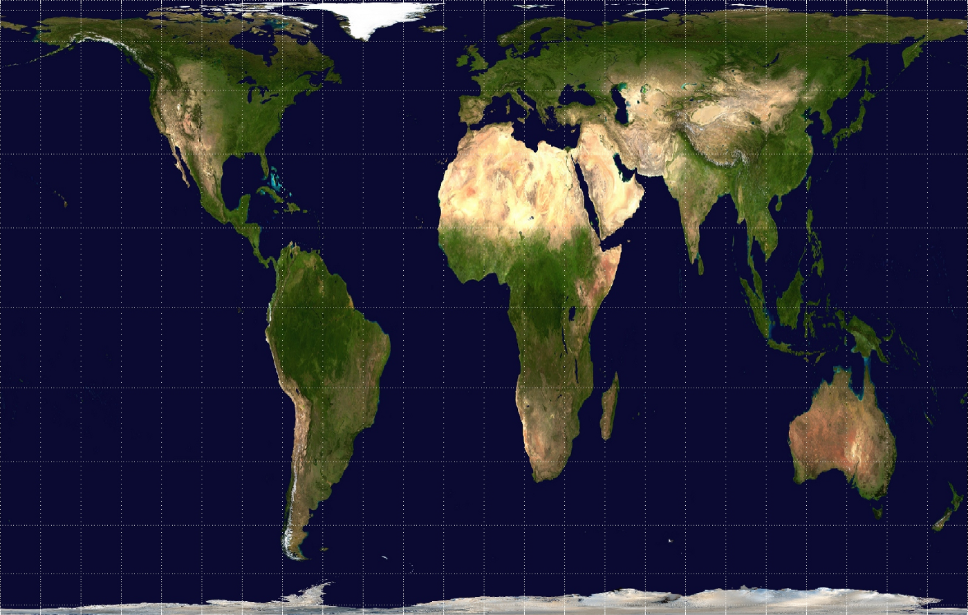 A rectangular world map projection showing physical landforms. America lies on the left hand side, while Europe, Africa, Asia and Australia on the right. Antarctica is thinly shown at the bottom. The shapes are stretched vertically on the center area, and and both the northernmost and southernmost section are heavily compressed.