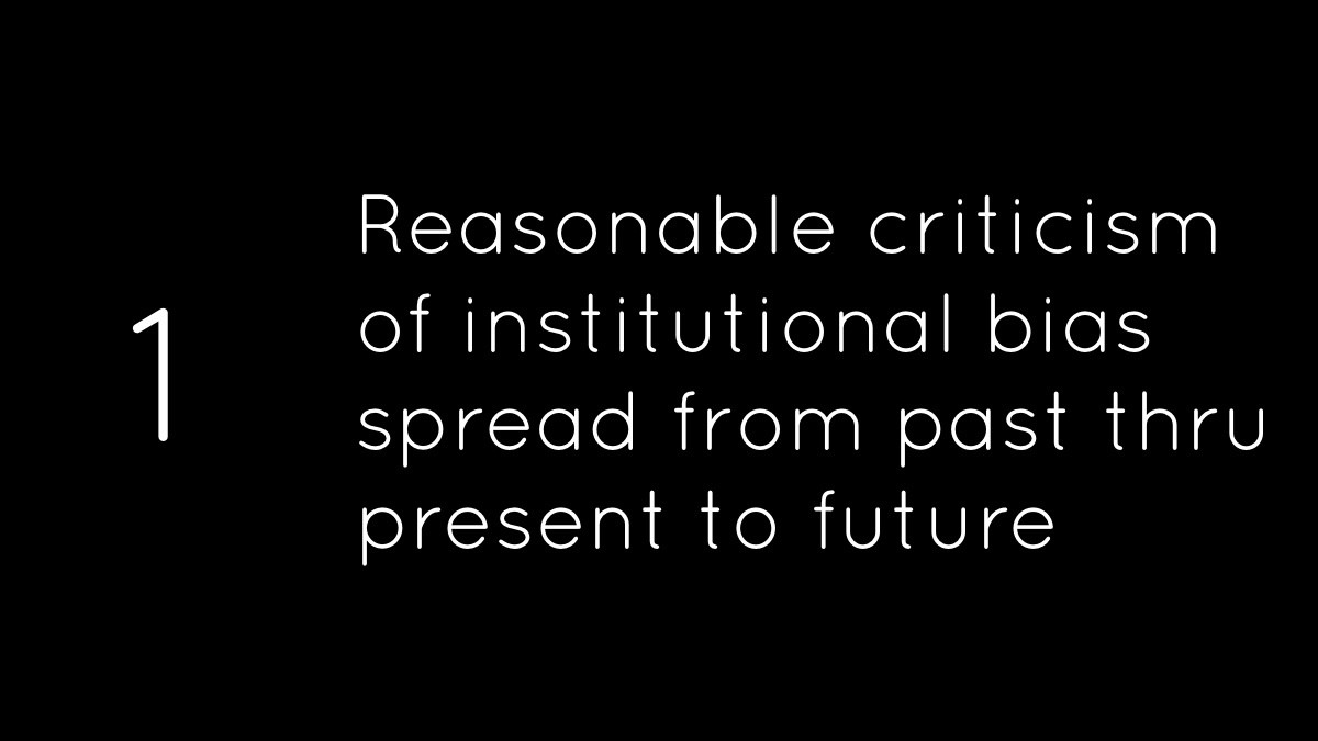 1 Reasonable criticism of institutional bias spread from past thru present to future