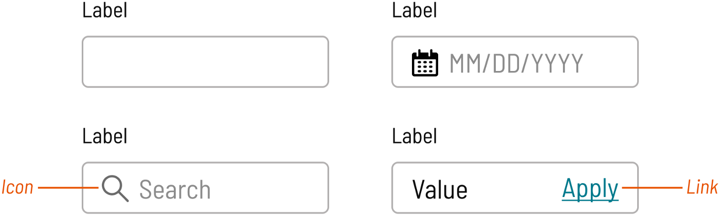 Variants of an input component, annotating border and icon color