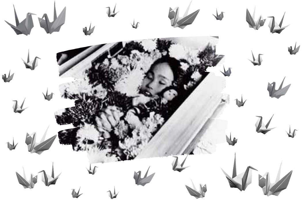 Sadako Sasaki in her funeral coffin surrounded by cranes, altered by the author