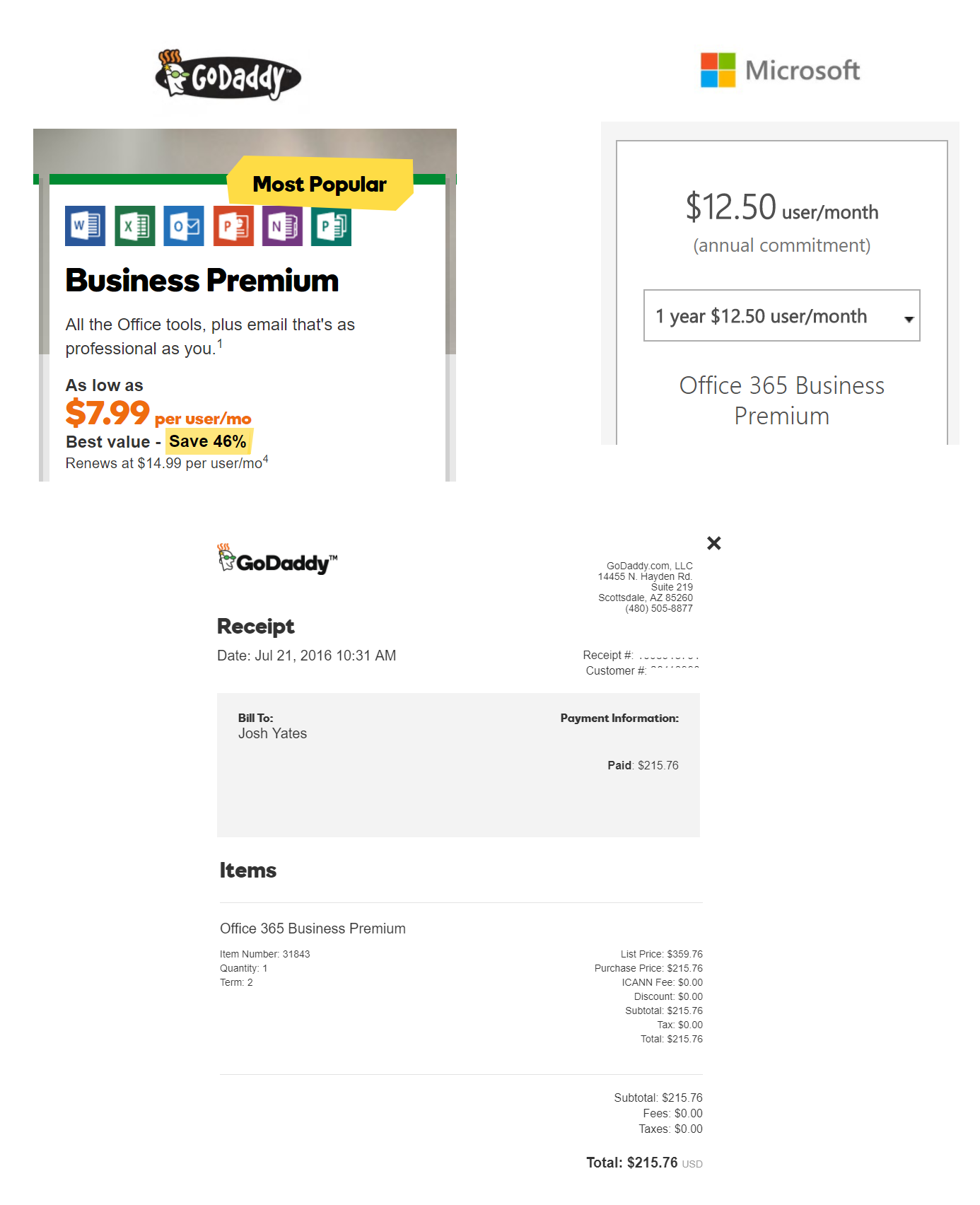 My experience with the purchase of Office365 through GoDaddy