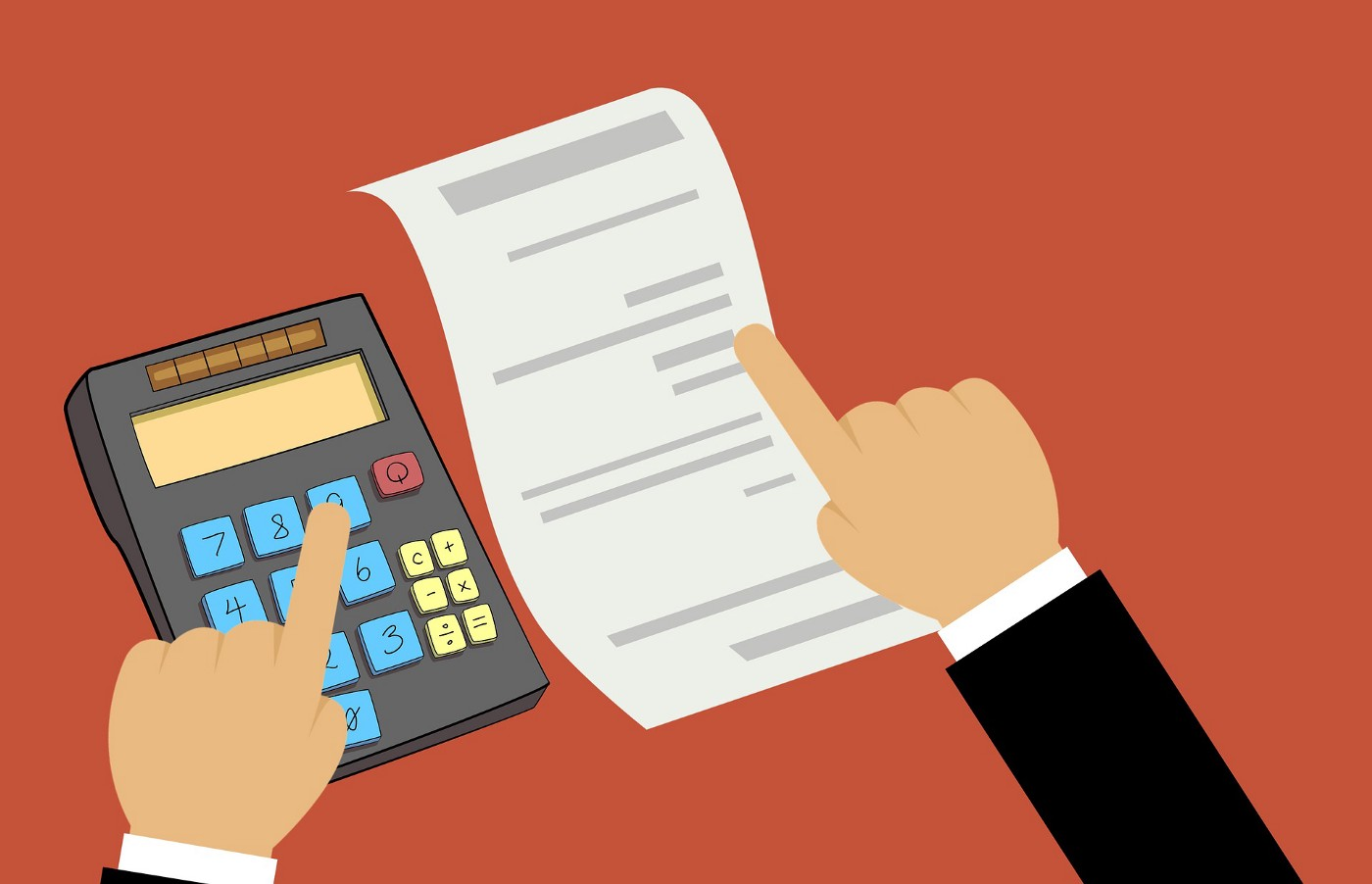 A men Web Developer is calculating Price for a Business Website Development, by taking caluculator and Paper in his hand.