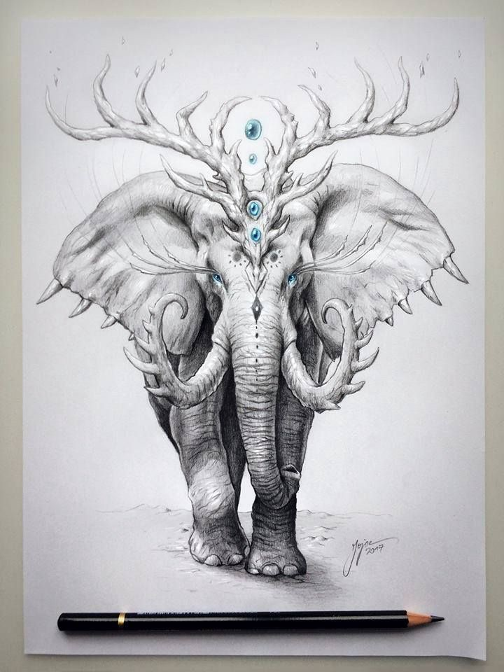 A picture of elephant by an artist