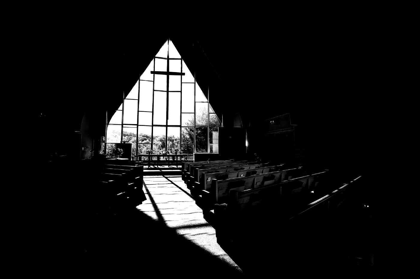 The church in black and white.