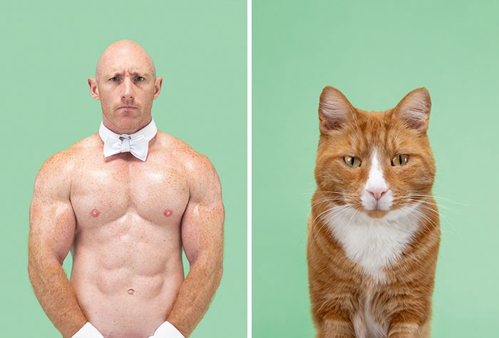 A shirtless man with just a white bow tie and a shaved head squints at the camera, an orange cat w white patch does the same