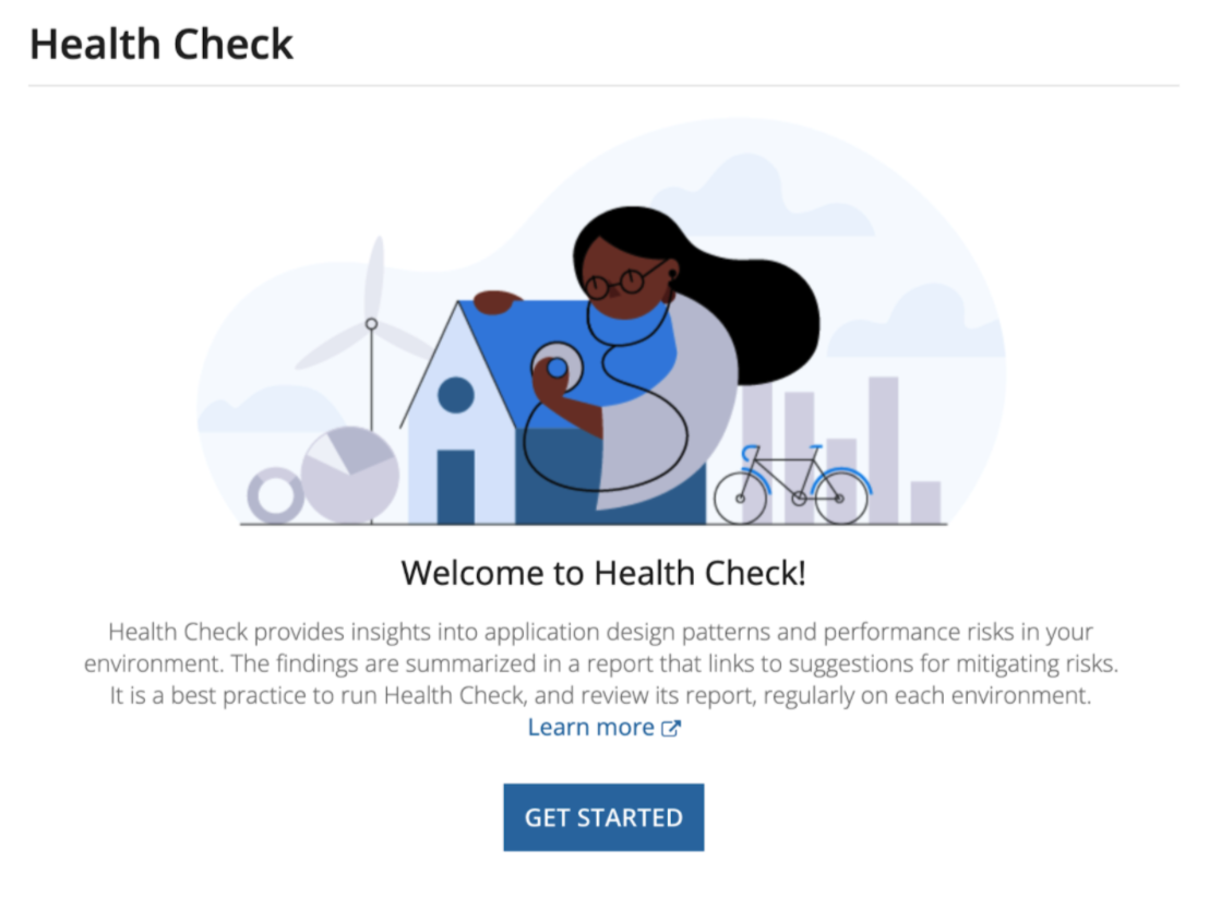 """Illustration for Appian Health Check home page depicting a woman using a stethoscope to """"check in"""" on an environment"""