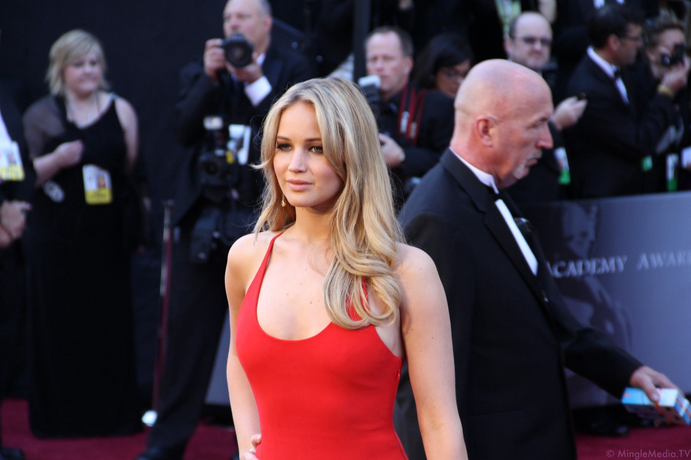 Actress Jennifer Lawrence in a red dress