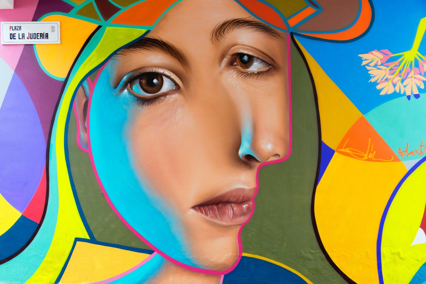 A picture of face abstract painting on a wall