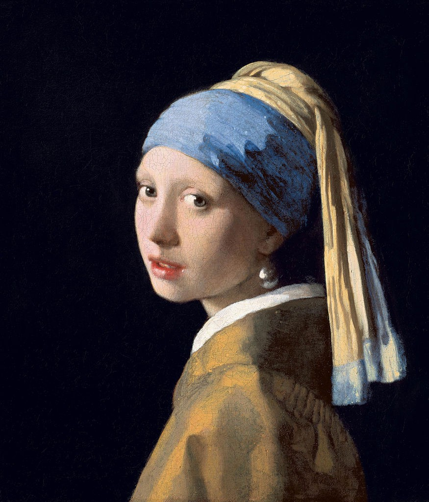 Girl with a Pearl Earring, an oil painting by Dutch Golden Age painter Johannes Vermeer, dated c. 1665.