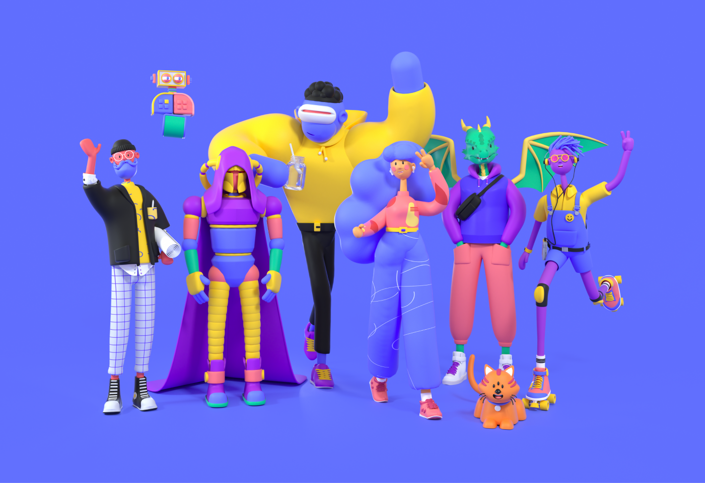 A Polywork illustration of digital characters, including whimsical dragons, robots and humans