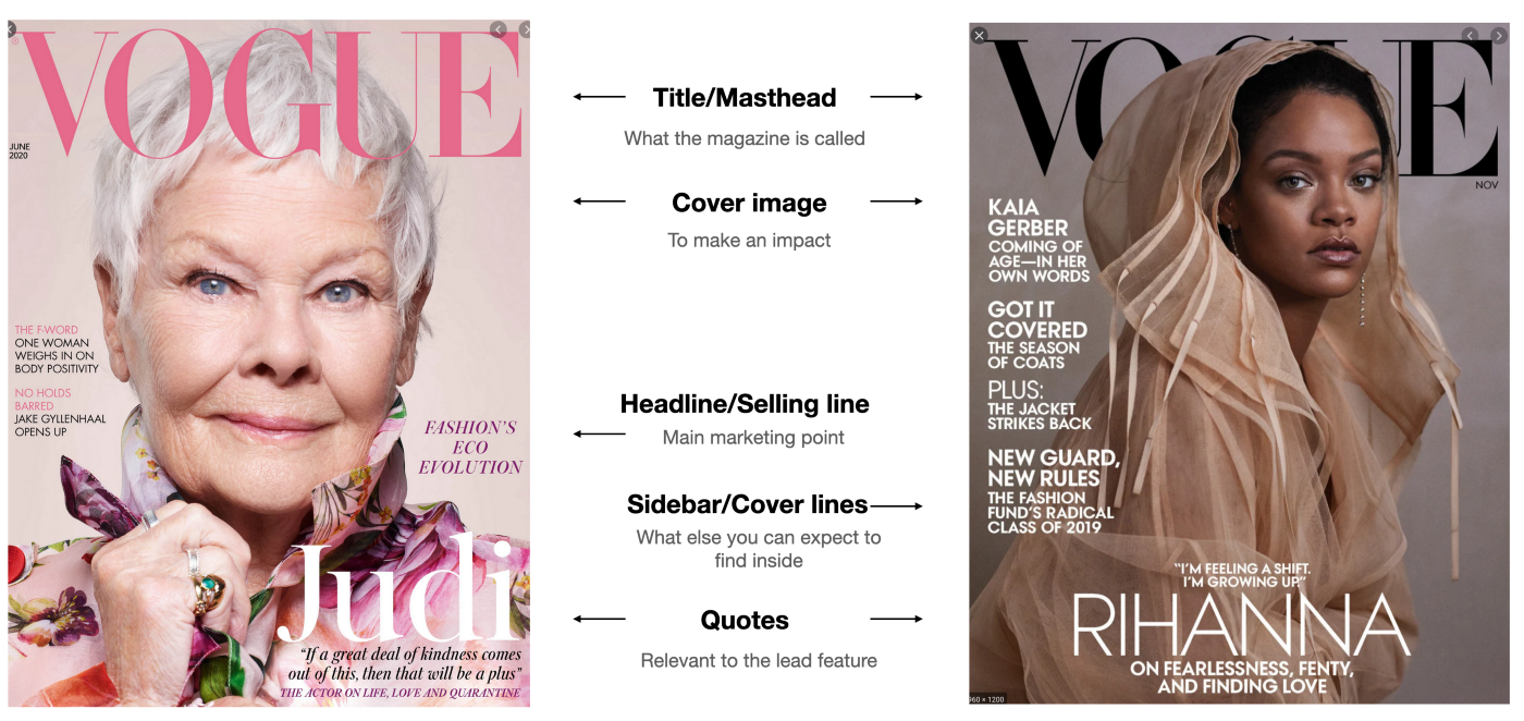 Two magazine covers showing masthead, image, headlines and quotes